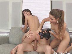 Красивые девушки трахают парня и снимают все на камеру