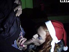 Ловелас вытрахал в рот ночную снегурочку
